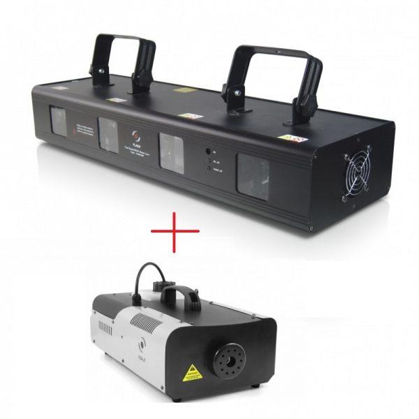 4 spindulių RGBY lazeris + dūmų mašina