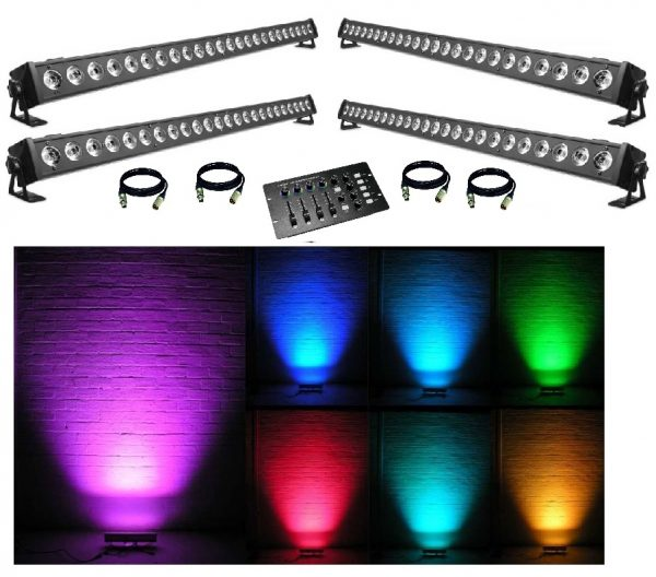 4x LED BAR 24x3w RGB + Valdiklis