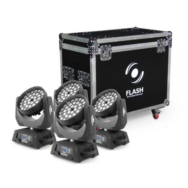 4 x LED judančios galvos 36x10W ZOOM RGBW